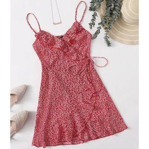 SHEIN Red Ruffle Trim Wrap Side Tie Slip Dress